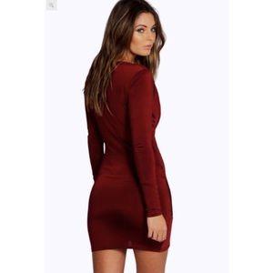 Boohoo Dresses - Slinky Drape Front Bodycon Dress
